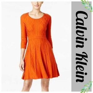 Calvin Klein Intarsia Pumpkin Knit Sweater Dress